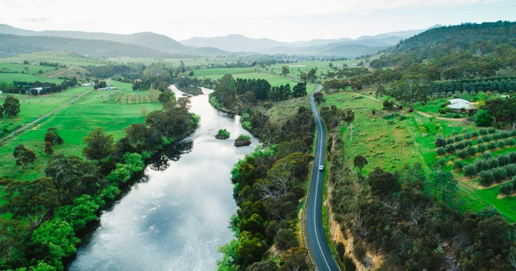 derwent river and road